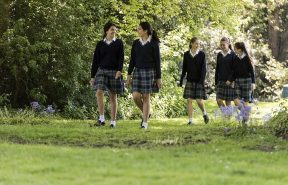 Students walking in our grounds